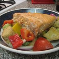 Baked Salmon Panzanella Salad