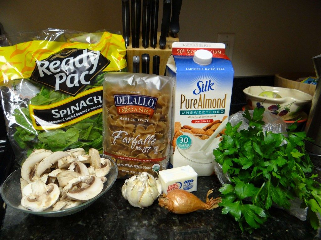 Spinach and Mushroom Alfredo Ingredients