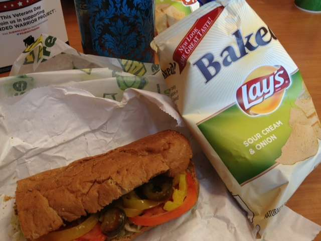 Subway 6 inch sandwich and baked lays