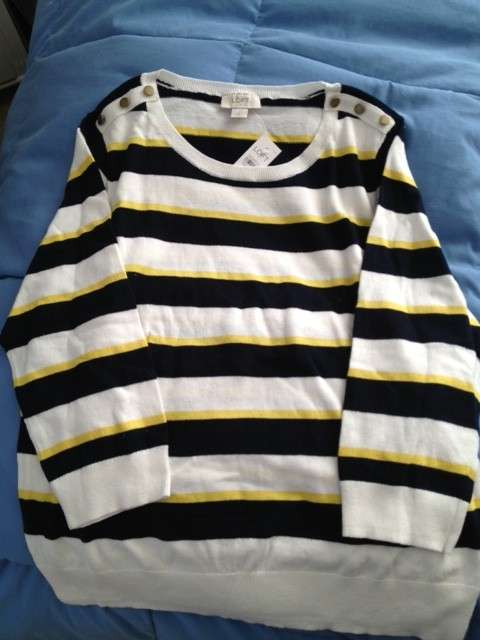 Ann Taylor Loft Black and yellow stripped sweater