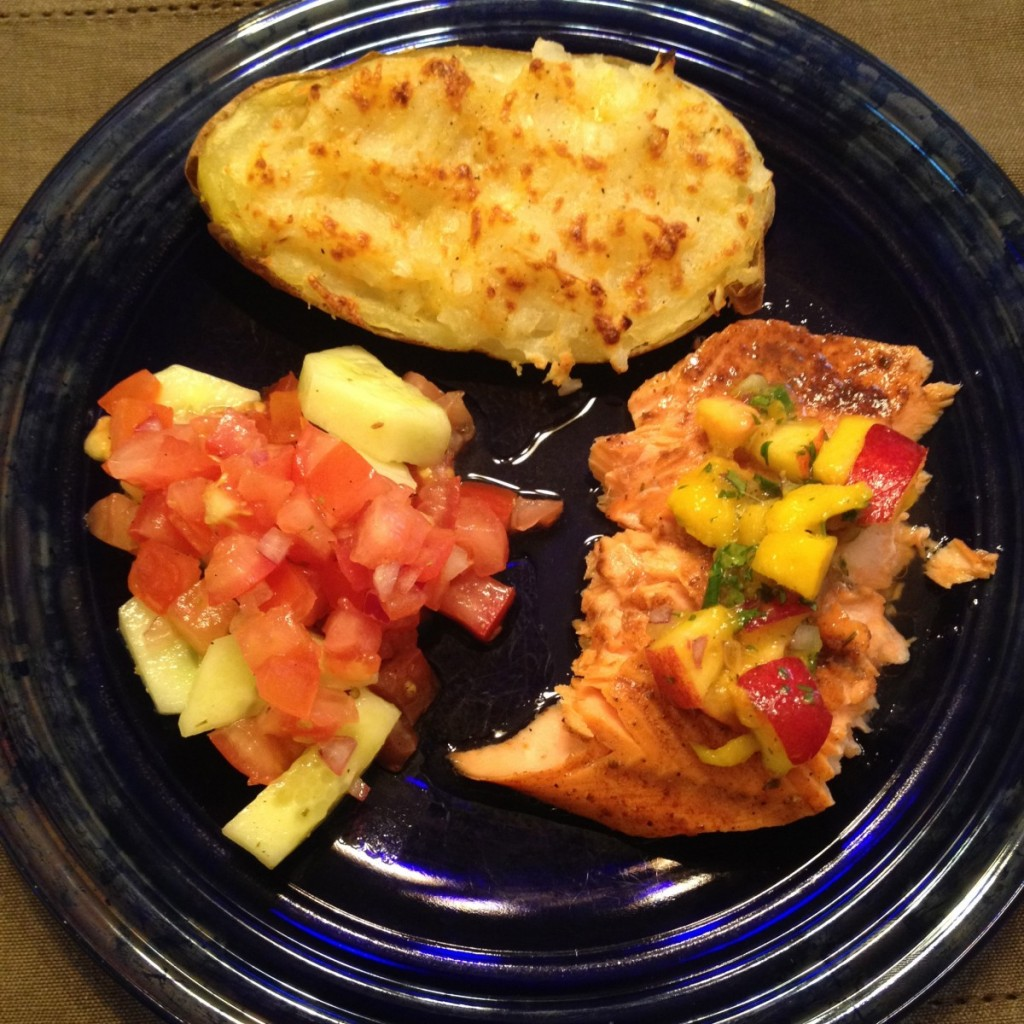 Baked Honey Balsamic Salmon with Mango Nectarine Salsa - Coffee Cake ...