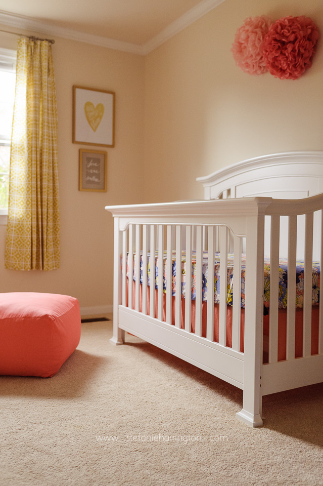 periwinkle and coral baby girl nursery
